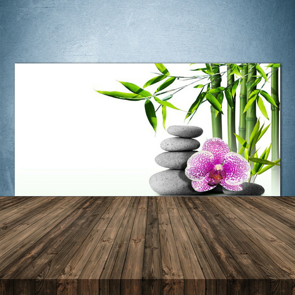 Crédence de cuisine en verre Panneau 140x70 Floral Bambou Pierres Fleurs