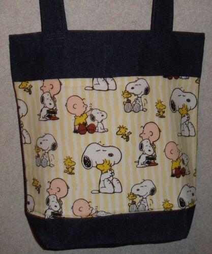 NEW Medium Denim Tote Bag Handmade//w Snoopy Charlie Brown Yellow Fabric