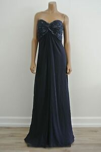 Tadashi-Collection-Dress-Navy-Blue-Silk-Chiffon-Draped-Beaded-Deco-Strapless-12
