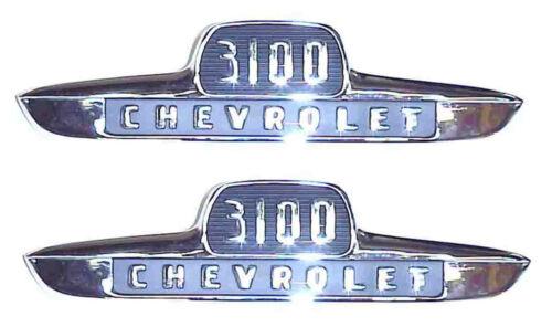 "1955 1st Series Hood Side /""3100/"" Emblems Chevrolet Chevy 1//2 Ton Truck Pair"