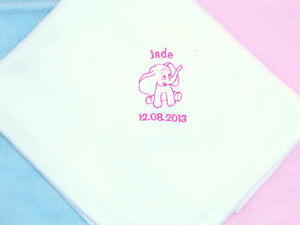 Personalised Baby Gifts  Baby Fleece Blanket Embroidered Name Cellphane wrapped