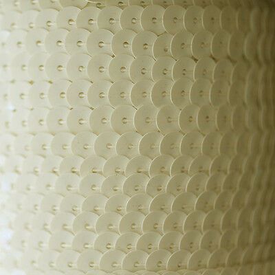 Made in USA. Sequin Trim ~ Opaque Ivory Bone ~ 8mm Cup Facet strung by the yard