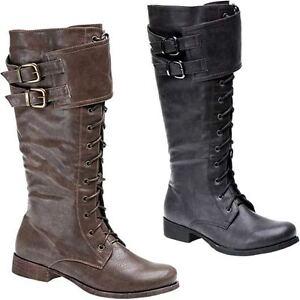 Ladies Shoe Boots Zu Biker Flat Calf Up Lace Mid Zip Details Army Winter Size Womens Riding 2H9DIE