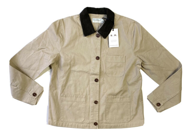 RM Williams Lady Drover Chore Jacket Beige Brown Collared Size 12