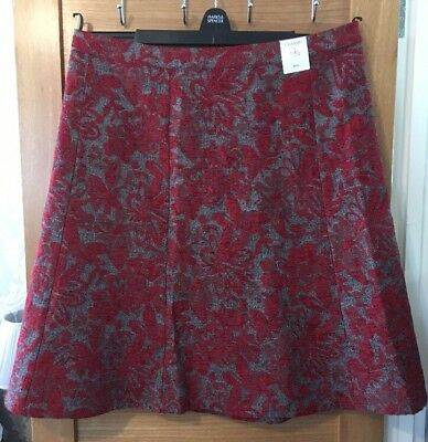 Ladies Classic M&s Size 22 Rrp £39.50. Red/grey Midi Lined Skirt