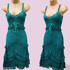 KAREN MILLEN GREEN CROCHET FLAPPER CHARLESTON 20s VINTAGE GATSBY Dress 3(12 UK)