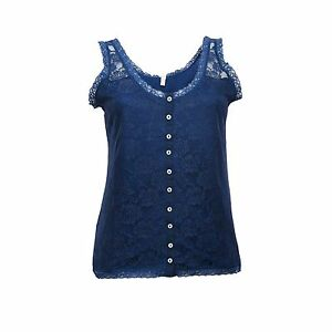 22872a61a7e5f Ex OVS Ladies Navy Floral Lace Front Button Through Sleeveless Vest ...
