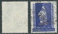 1952 TRIESTE A USATO SAVONAROLA FILIGRANA LETTERA - L3