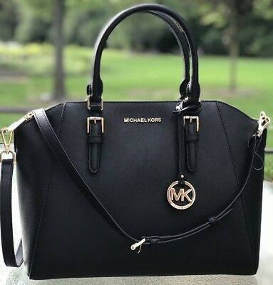NWT MICHAEL KORS CIARA LARGE BAG BLACK SAFFIANO LEATHER PURSE SATCHEL 192317128888 | eBay