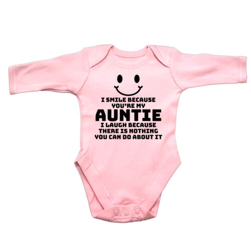 I Smile Because Youre My Auntie Funny Baby Infants Babygrow Romper Jumpsuit