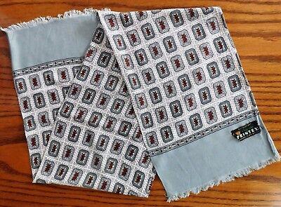 Vintage men's patterned scarf 1950s 1960s Printex German grey