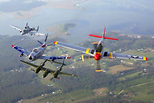 8x12 Photo An A-10 Thunderbolt II, F-86 Sabre, P-38 Lightning and P-51 Mustang