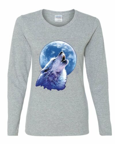 Call of the Wild Women/'s Long Sleeve Tee Lone Wolf Howling at the Moon Wildlife