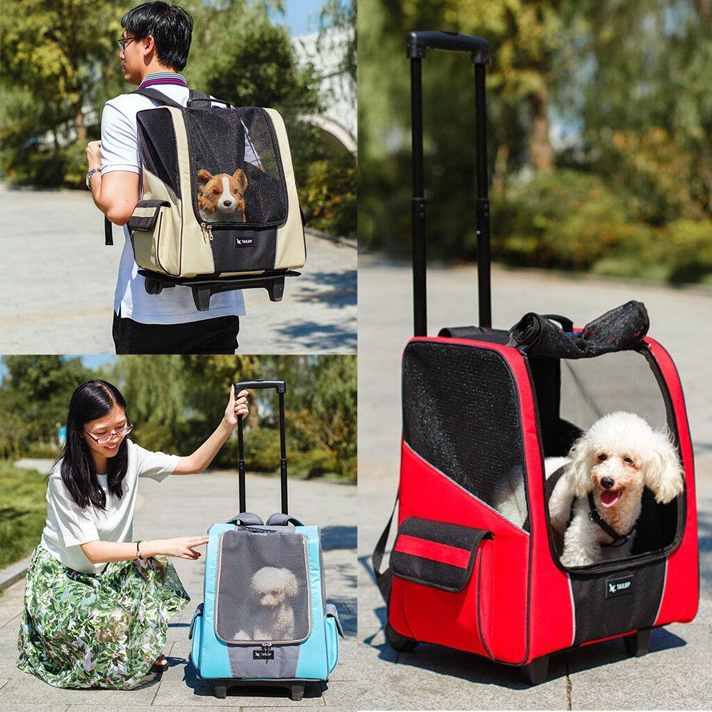 GRANDE cane animali domestici carrello portante Passeggino VIAGGIO ZAINO bagaglio Gabbia Ruota Push