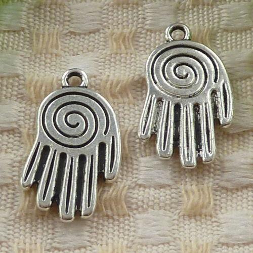 free ship 30 pieces tibetan silver hand charms 25x14mm #3637
