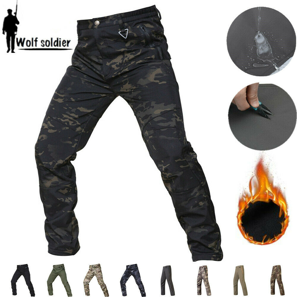 Mens Soft Shell Military Pants Combat Army Waterproof Fleece Casual Camouflage