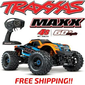 NEW-TRAXXAS-MAXX-4S-BRUSHLESS-4WD-1-10-MONSTER-TRUCK-ORANGE-60-MPH-FREE-SHIPPING