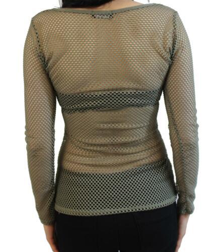 NUOVA linea donna balza scollo profondo vedere attraverso Maglia Casual Tunica T-shirt Top 8-14