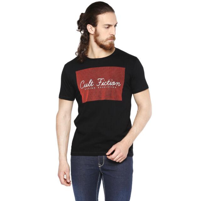 Cult Fiction men's Black Color Round Neck Cotton T-Shirt (CFM01BL453)