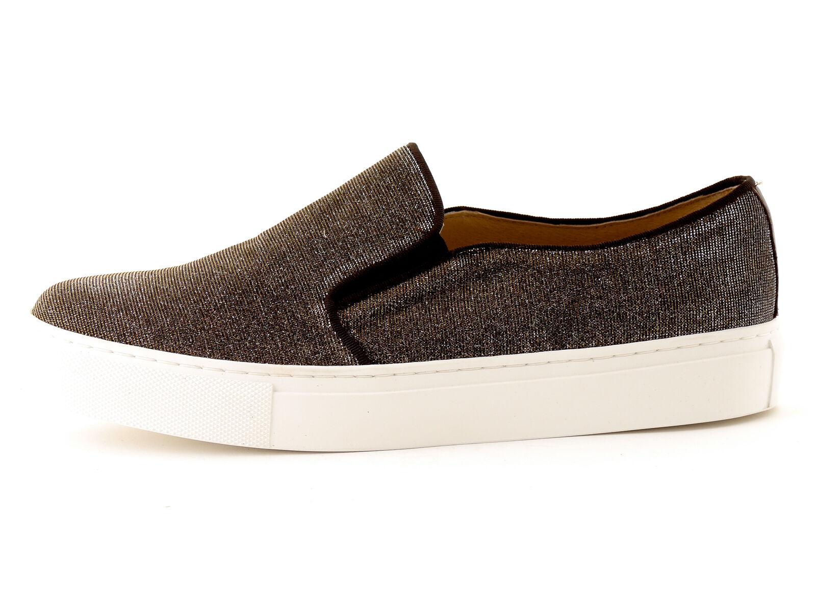 KMB Schuhe Slipper Slip On Notturno braun Glitzer Textil Gummi Leder