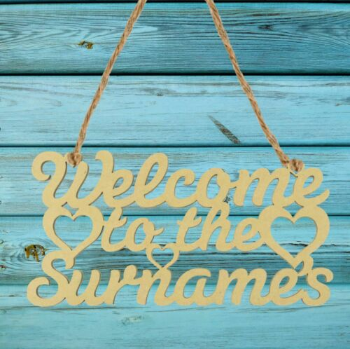 Sign with Hearts Family Home Sign Gift Wood Crafts Personalised Welcome To The.