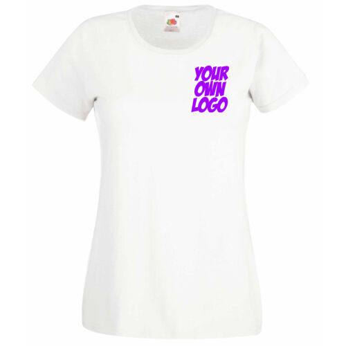 Ladies Womens Lady Fit White T Shirt Personalised Text Logo Design
