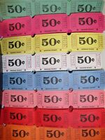 400 ''50 Cent Single Roll 1-part Raffle Tickets - (8 Colors - 50 Of Each Color)