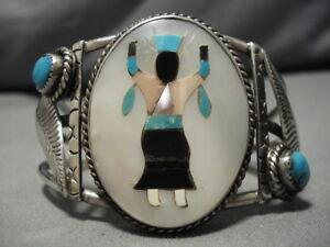 Folkloreschmuck Indianerschmuck Besorgt Unglaubliche Vintage Navajo Sterlingsilber Türkis Kachina Armband Alt Rheuma Lindern