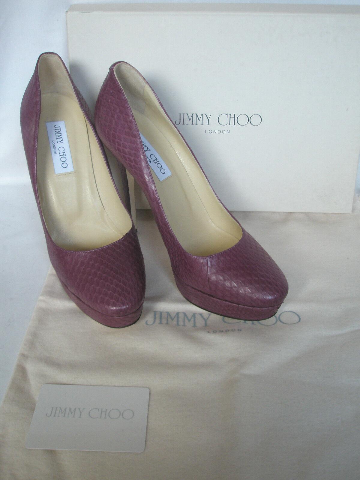 NEW JIMMY CHOO CHOO CHOO Ladies COSMIC Plum Court Snake Leather shoes Heels UK 7 EU 40 c263db