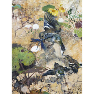 Liljefors-Chaffinches-Dragonflies-Birds-Nature-Painting-Canvas-Art-Print-Poster