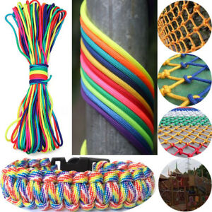 550 Paracord 7 Strands Rainbow Rope Parachute Cord Camping Hiking 100ft/300ft