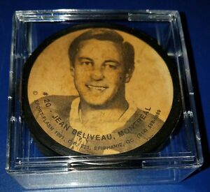 JEAN BELIVEAU hof Montreal Canadians signed vintage  photo hockey puck +cube