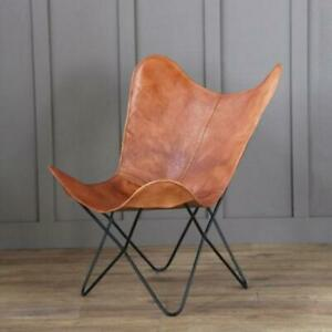 Vintage-Tan-Leather-Butterfly-Chair-Home-Decor-Living-Room-Hallway-Relax-Chair