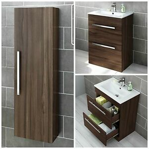 Walnut Modern Bathroom Furniture Storage Cabinet & Basin
