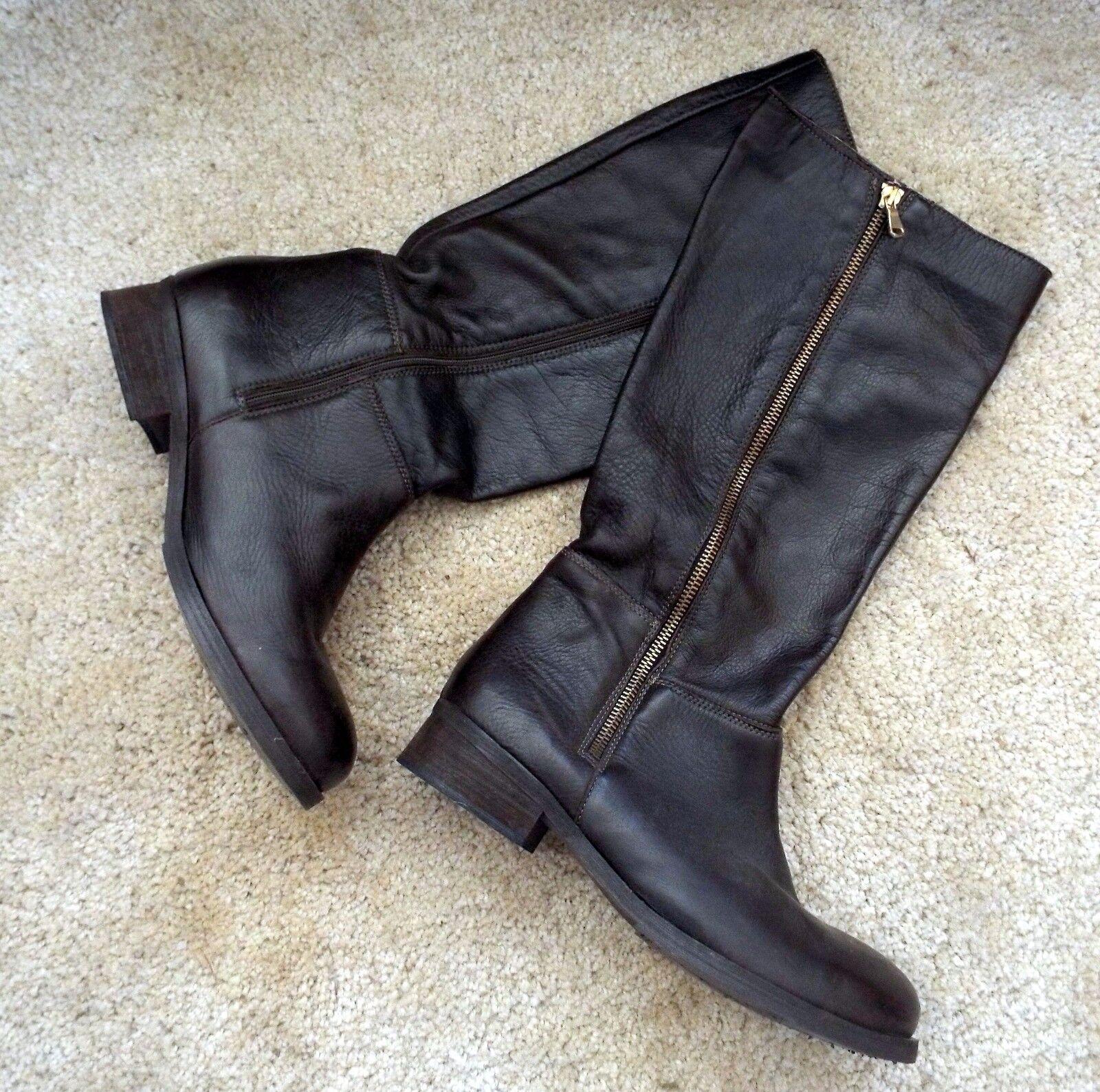 Daniel dark Braun soft Leder boots with zip detail Größe 41