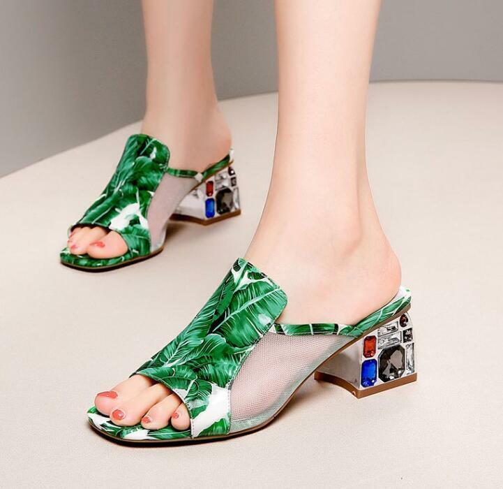 Femme Bout Ouvert Strass Summer Fashion Sandales escarpins petit talon mules chaussures