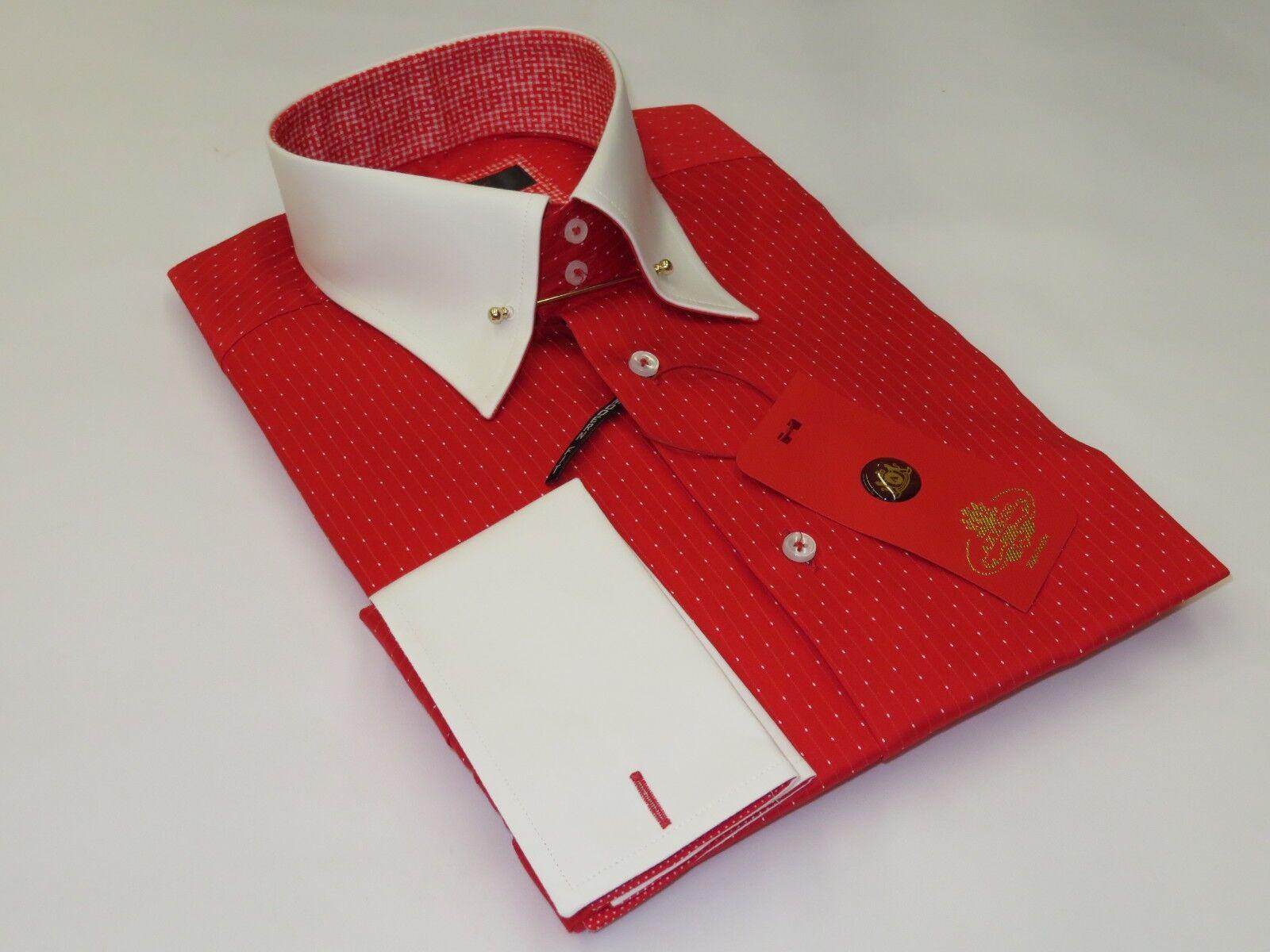 Men Axxess Egyptian Cotton European Shirt Turkey 818-16 Stripe Dot Colar Pin Bar