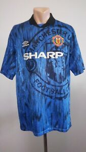 Details about Football shirt soccer Manchester United Away 1992/1993 Umbro Jersey Vintage XL