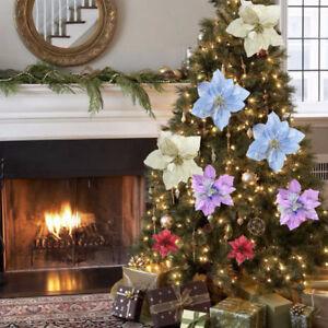 Festa-di-Natale-Poinsettia-Fiore-Glitter-Oro-Fiocco-in-ARREDAMENTO-ALBERO-NATALE