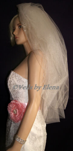 """Wedding Veil Bubble Full Puffy Bouffant 108/""""Width 2Tiers 30/"""" 33/"""" Length Crystals"""