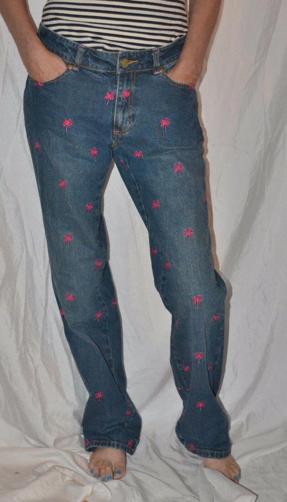 Lilly Pulitzer jeans Embroidered Palm Trees Size 4  GREAT fit