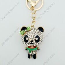 Emerald panda scarf bling key chain rhinestone crystal fashion purse charm clasp