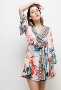 Frime-Crystallised-Embellished-Coral-amp-White-Beach-Kimono-Tunic-Wrap-Dress-M-L