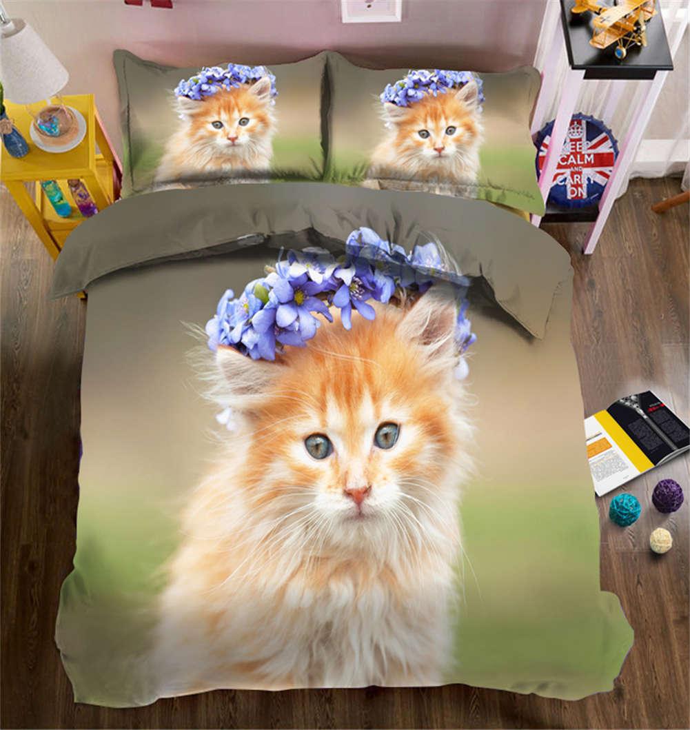 Wearing Wreath Cat 3D Druckening Duvet Quilt Will Startseites Pillow Case Bettding Sets