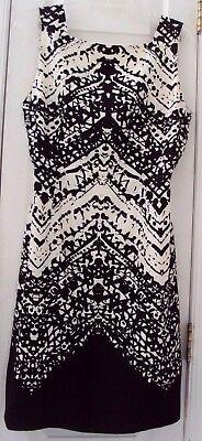 TALBOTS 12P IVORY WHITE & BLACK 100% PURE SILK STRAIGHT PENCIL DRESS #10P14PLG