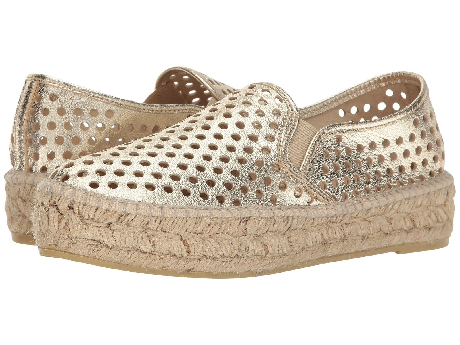 LOEFFLER RANDALL Rowan Perforated Leather gold Slip On Sneakers 40 10 NWOB  225