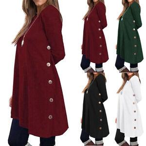 Women-Autumn-Winter-Casual-Top-Long-Sleeve-Pullover-Button-Top-Blouse-Sweatshirt