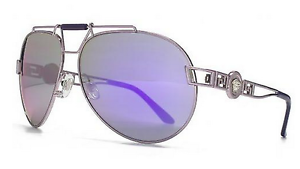 VERSACE Signature Icon Aviator Pilot Sunglasses VE 2160 Violet Purple Mirrored