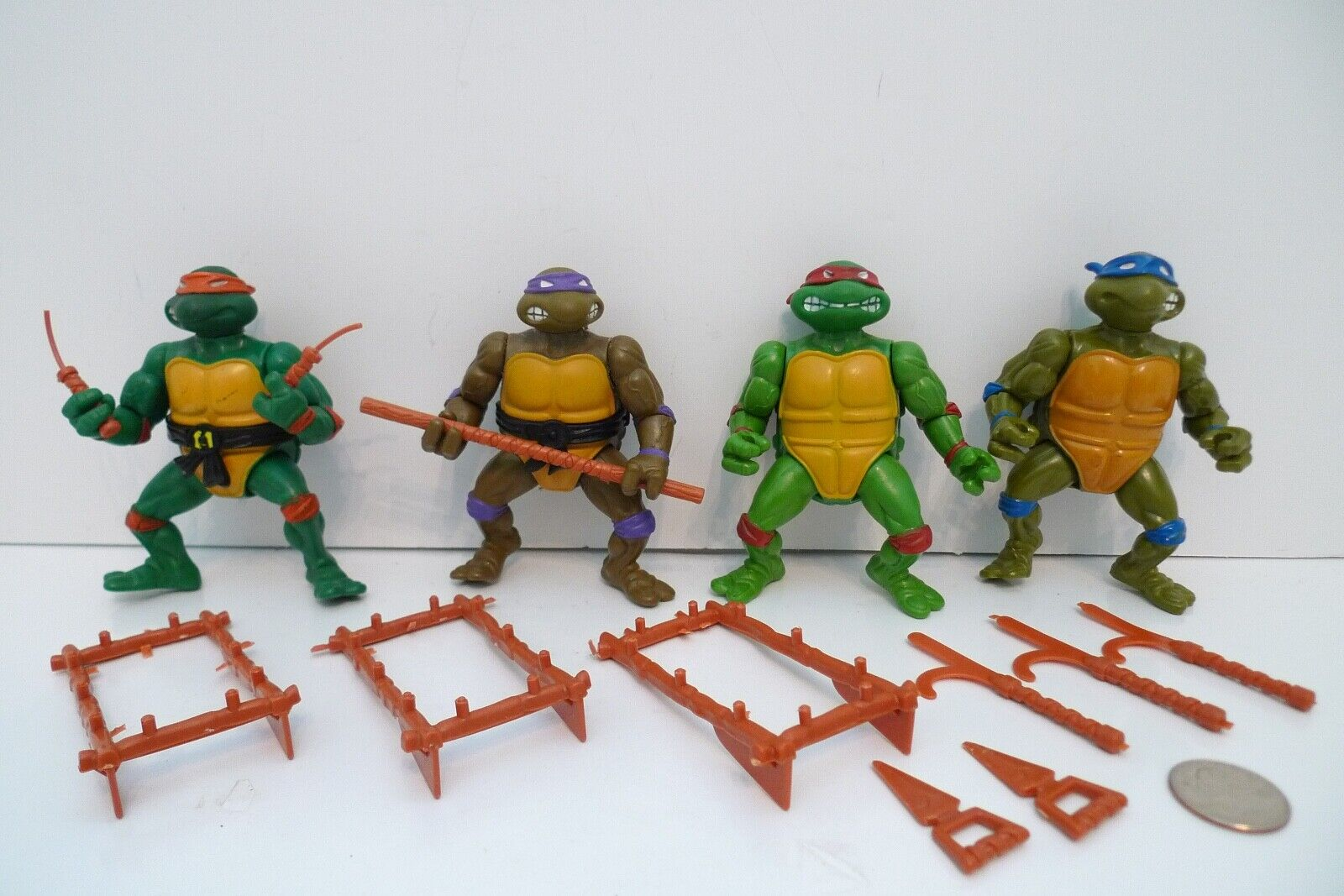 Jahrgang 1988 TMNT Ninja Turtles Set aus 4-Waffen Don Raph Mike Leo Figur Masse