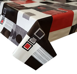 Image Is Loading Pvc Table Cloth Modern Red Black Circle Square